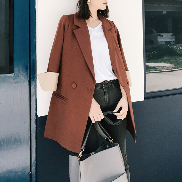 2019 Autumn New Women Blazer Seven-Sleeve Informal Loose Jackets Office Work Ladies Blazers Fashion Casual Suit Jacket