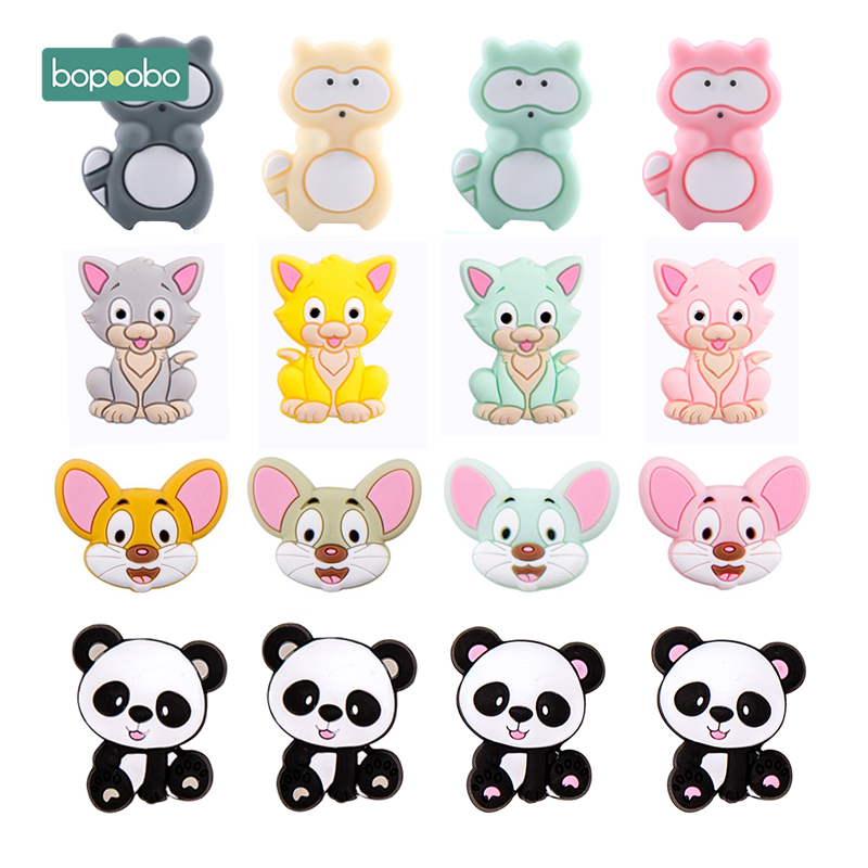 Bopoobo 5pc Silicone Beads Baby Teething Cartoon Silicone Rodent Beads BPA Free Material Shower Gift DIY Crafts Baby Teether