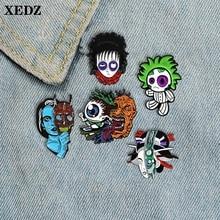 XEDZ black circle doll skateboard eyes grow up uncle mask headdress female enamel brooch thriller head badge backpack lapel pin diesel легкое пальто