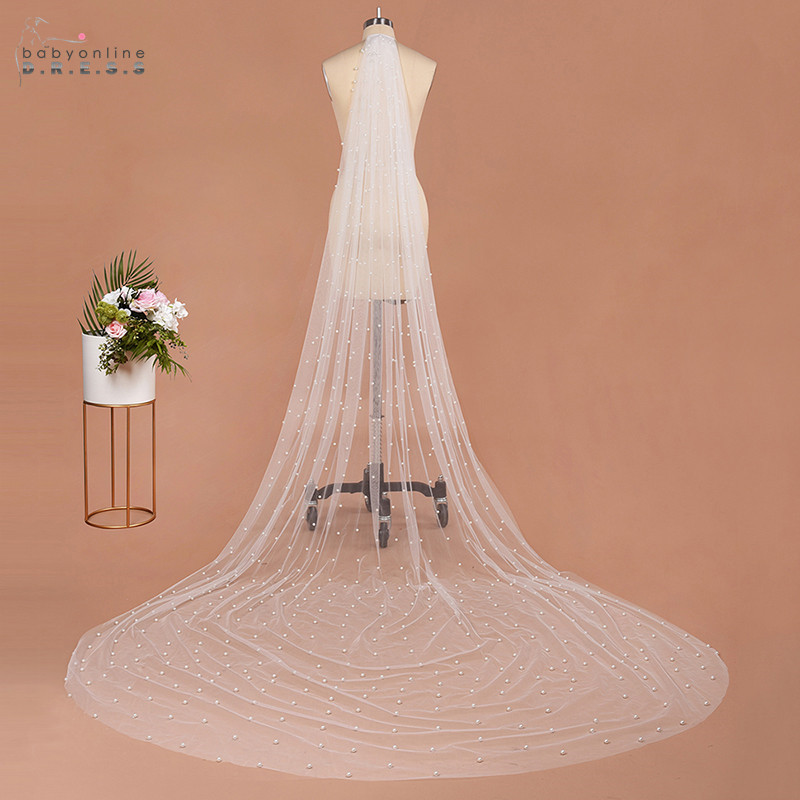 Wedding-Veil Voile Cathedral Pearls Comb Mariage Tulle Metal Soft One-Layer Luxury 3M
