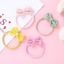 Bow-Headbands Hair-Accessories Candy-Color Baby-Girls Headwrap Elastic Handmade Nylon