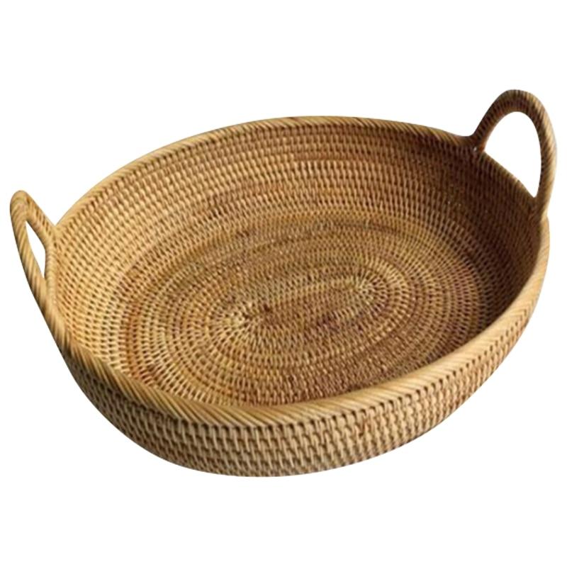 Vietnam Rattan Fruit Basket Hand Woven Bread Basket Breakfast Basket Tea Tray Storage Basket Snack Fruit Home Storage
