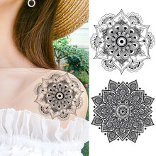 Black Henna Temporary Tattoos Sticker For Women Body Art Painting Chest Arm Tattoos Fake Mandala Flower Tatoo Decal For Holiday(China)