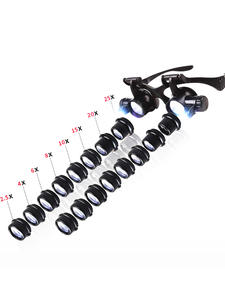 Magnifier Loupe Eye-Glasses Jeweler Led-Lights Watch-Repair 6x8x 10x15x 20x25x Multi-Power