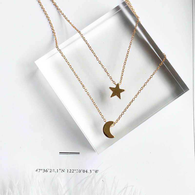 ใหม่ GOLD สี Moon Star Sun จี้สร้อยคอ Crescent จี้สร้อยคอยาวผู้หญิง 2 ชิ้น/เซ็ตขายส่ง