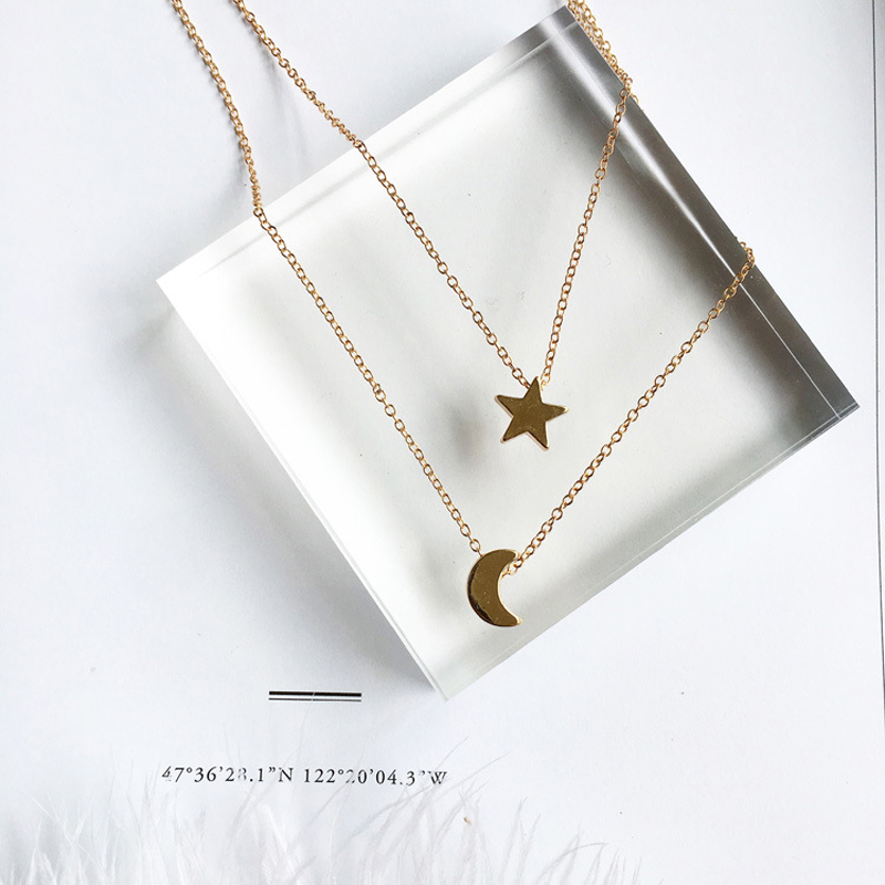 NEW Fashion Jewelry Gold Color Moon Star Sun Pendant Necklaces Crescent Pendant Long Necklaces For Women 2 Pieces/Set Wholesale