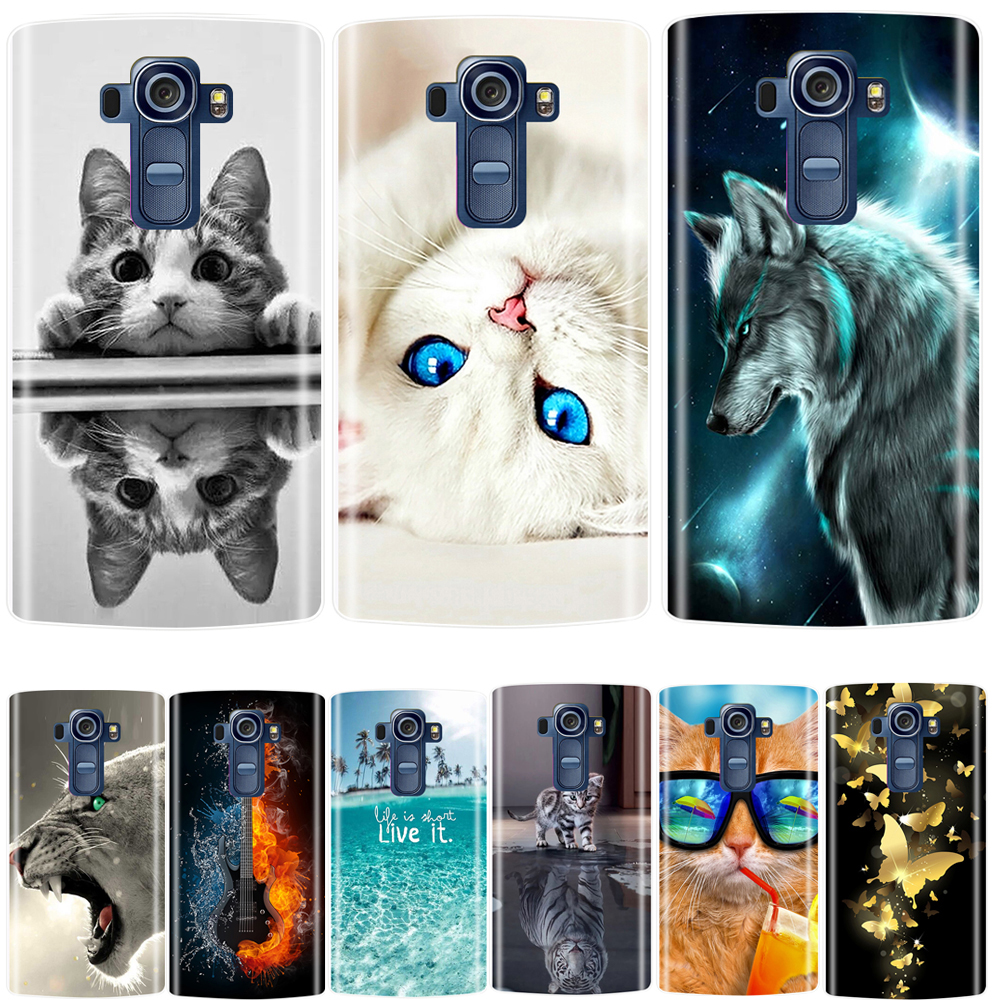 Phone Case For LG G4 Soft Silicone TPU Cute Cat Flower Painted Back Cover For LG G4 H810 H815 H818 Case image