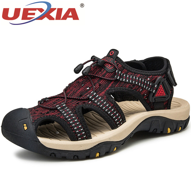 UEXIA Fashion Breathable Men Sandals Leather Summer Beach Shoes Soft Bottom Breathable Slip On Beach Outdoor Driving Footwear