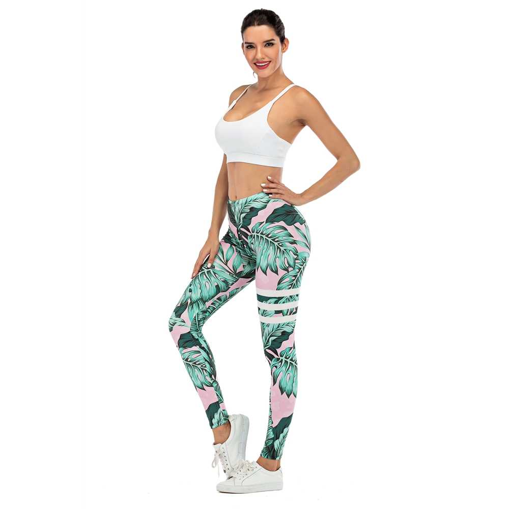 Merek Wanita Legging Daun Cetak Kebugaran Leggins Fashion Slim Pembalut Kaki Tinggi Pinggang Wanita Celana