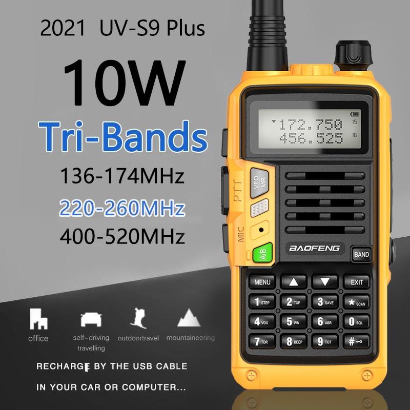 Baofeng UV-S9 plus rádio tri-band 10w poderoso 136-174mhz/220-260mhz/400-520mhz walkie talkie amador rádio portátil em dois sentidos