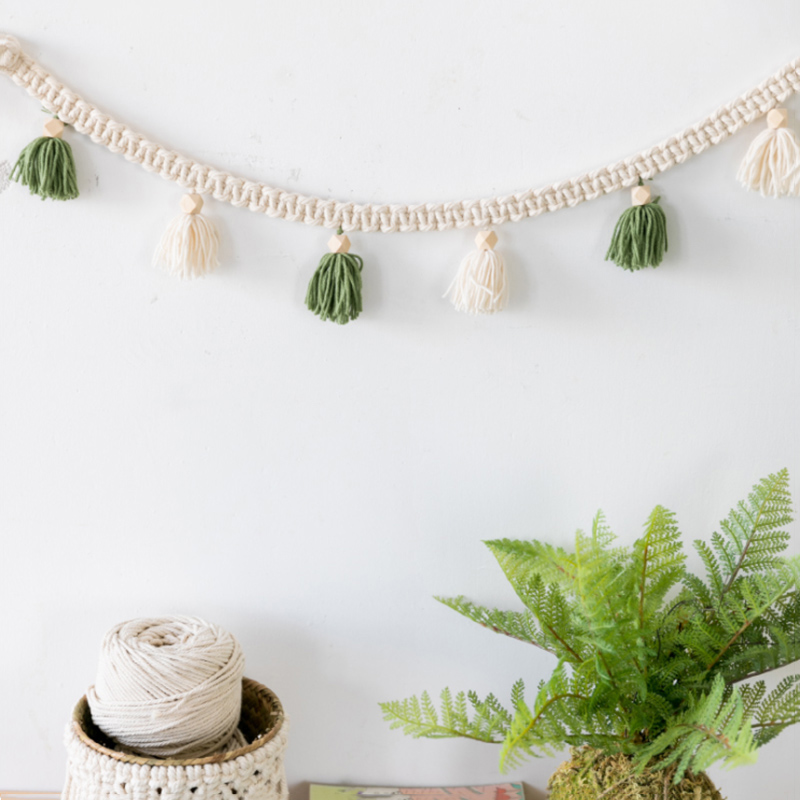 Macrame Wall Hanging Hand-woven Wall Lanyard Decorative Flower Room Decoration Literary Pendant Home Decoration Kitchen Helpers