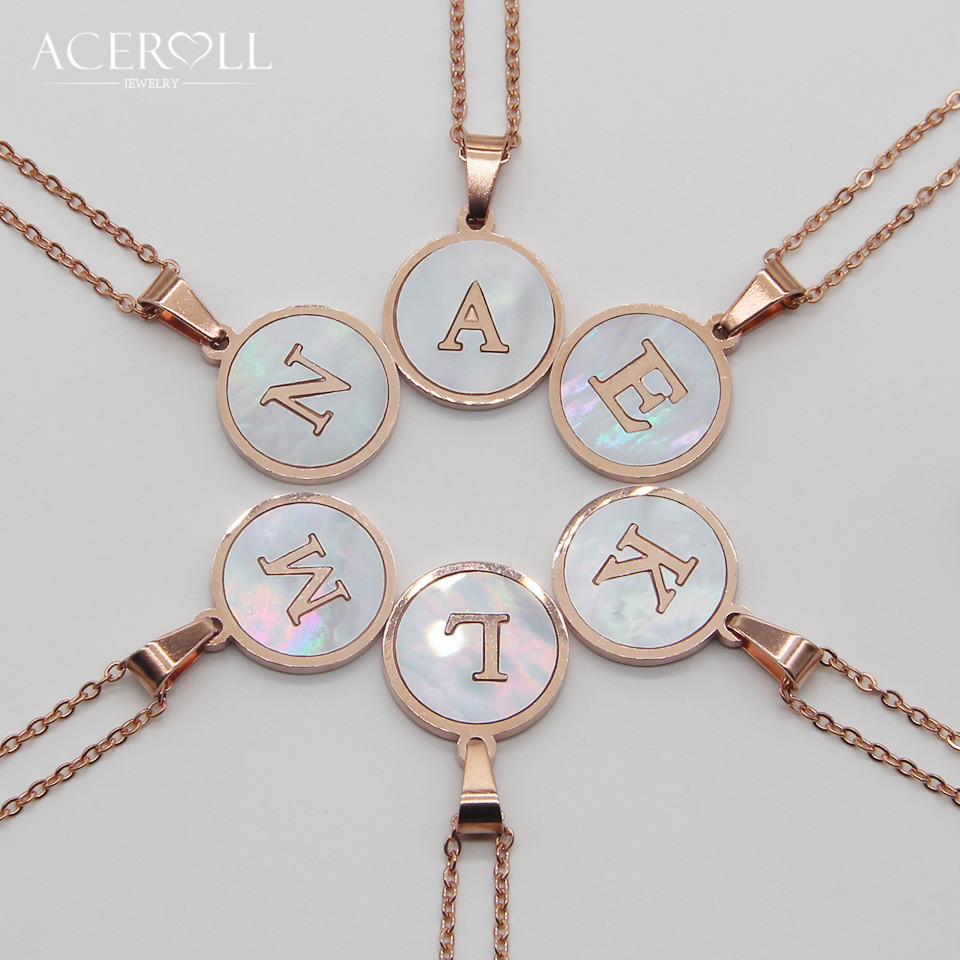 Us 3 03 19 Off Aceroll Initial Letter Necklace Stainless Steel Round Mother Of Pearl Alphabet Name Pendant Necklace Rose Gold Color For Women In
