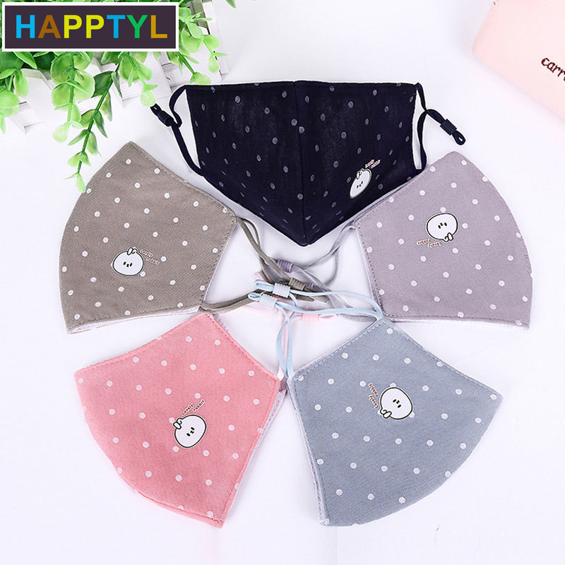 HAPPTYL Fashion Cartoon Girls Face Mouth Mask Anti Dust Mask Filter Windproof Mouth-muffle Bacteria Proof Flu Face Mask Reusable