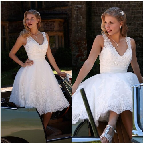 2018 Vintage V Neck Beaded Lace Organza A-line Backless Cheap Lace Summer Tea Length Beach Bridal Gown Bridesmaid Dresses
