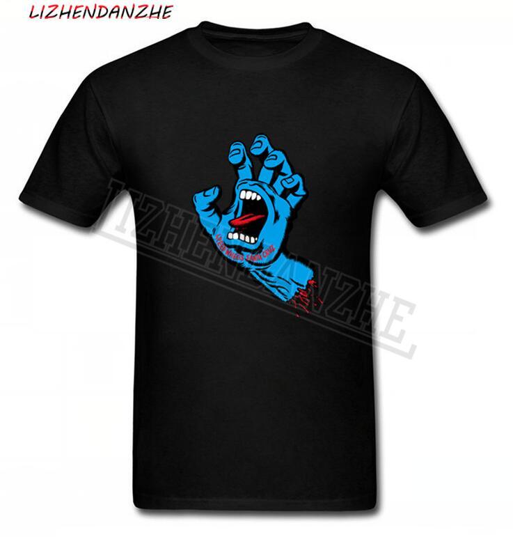 Blue Zombie Hands Cotton T Shirt Big Discount New Coming Santa Cruz Men Tshirt Round Collar Funny Print T-Shirts On Sale 04