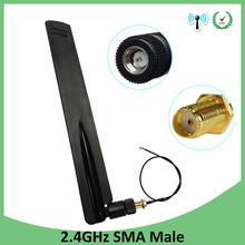 5pcs 2.4Ghz Wifi antenna 8dbi SMA Male connector Omni-Directional 2.4 ghz antenne  wi fi Antena +21cm RP-SMA Male Pigtail Cable eightwood 2 4ghz 5ghz dual band 9dbi omni directional antenna 802 11n b g rp sma male connector 35cm u fl mini p 2pcs