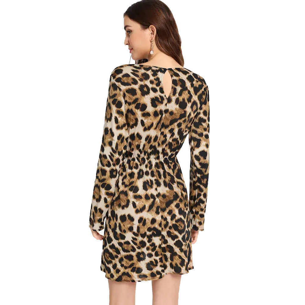 נשים שמלת 2020 חורף אביב הדפס מנומר מין V צוואר שמלת גברת מיני המפלגה ללא משענת שמלות נשים ארוך שרוול שמלת LX2568