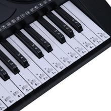 Transparent Piano Keyboard Sticker 88/61/54 Key Electronic Keyboard Key Piano Stave Note Sticker For White Keys Cute Sticker