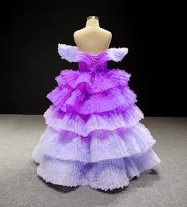 Image 2 - J66905 Jancemberดอกไม้สาวชุด 2020 สีม่วงVคอหมวกชั้นหญิงชุดราตรี Платье Для Девочек Communie Jurk