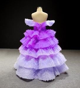Image 2 - J66905 Jancember Blume Mädchen Kleider 2020 Lila V Neck Cap Sleeve Tiered Mädchen Abendkleider платье для девочек communie jurk