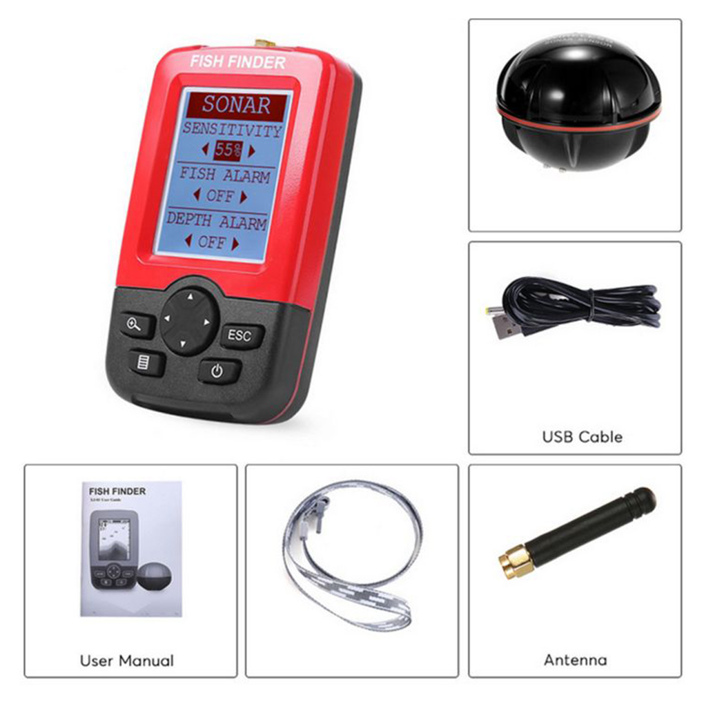 Smart Portable Depth Fish Finder with 100M Wireless Sonar Sensor Echo Sounder LCD Fishfinder for Lake Sea Fishing Saltwater 2