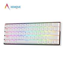 Kemove snowfox dk61 sem fio bluetooth 5.1 ttpe-c quente-swappable gateron kailh switch pbt keycaps teclado de jogo mecânico rgb