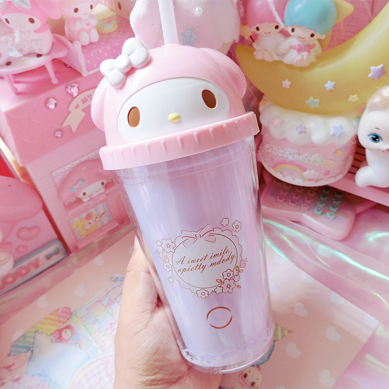 1pc Lovely Pink Meldoy Firut Cup Portable Juicer Drink Cups Girls Gifts 300ML