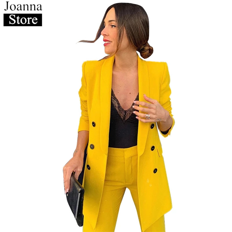 Autumn Women Blazer Set Double Breasted Long Sleeve Lapel Jackets Office Ladies Slim Long Bell-Bottom Pants Elegant Casual Suit