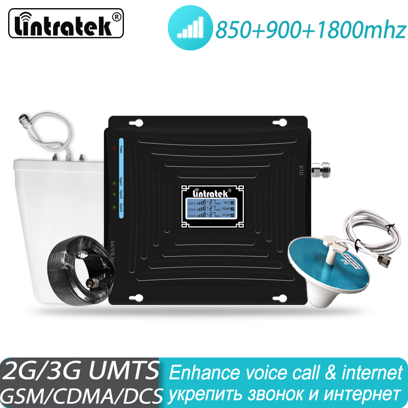 Lintratek Tri Band Signal Booster 900 850 1800 GSM DCS UMTS LTE Cellular Repeater 900/850/1800mhz Amplifier #38