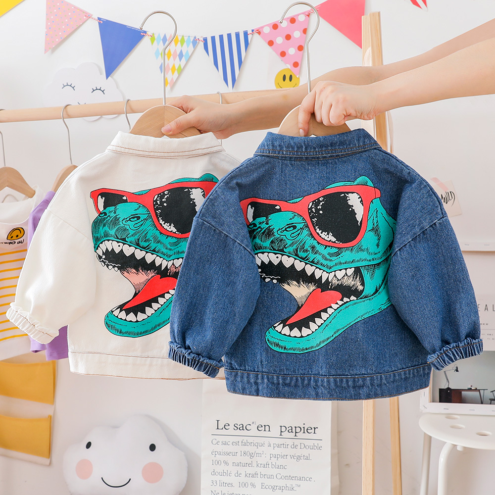 Baby Boy Clothes Autumn Boy Denim Jacket Fashion Coat Children's Clothing Cartoon Dinosaur Print Soft Coat Boy And Girl Clothes
