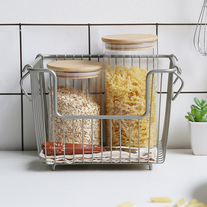 Fer Art Rack de rangement boîte de rangement panier étagère de rangement cuisine organiser Double couche étagère de rangement échouer Rack ménage dortoir - 2