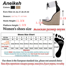 Aneikeh Fashion PVC Sandal Women Transparent Sandals Lace-Up Wedges High Heels Black Gold Party Daily Pumps Shoes Size 35-40