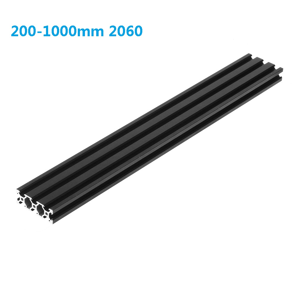 200-1000mm Length Black 2060 V-Slot Aluminum Profile Extrusion Frame For CNC Laser Engraving Machine 3D Printer Furniture
