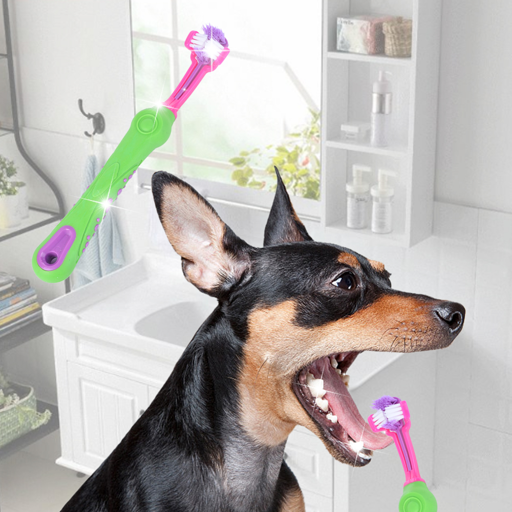 Pet Dog Toothpaste Toothbrush Three-Tooth Anti-Slip Pet Dog Tooth Cleaning Oral Dental Care Tool Supplies Cleaning Mouth