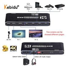KEBIDU 4K @ 60Hz Matrix 4x2 18.5 Gbps Splitter Switch compatibile HDMI con SPDIF e interruttore HDR L/R 3.5mm 4x2 supporto HDCP 2.2 3D