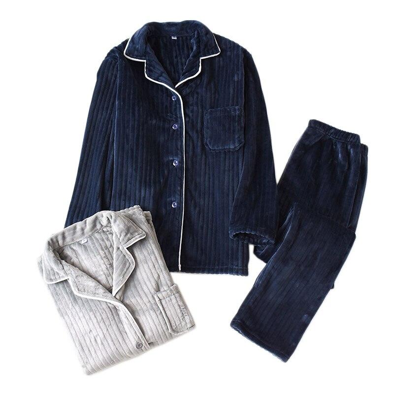 New Winter Keep Warm Thicken Pajamas Sets Men High Quality Striped Flannel Long Sleeve Mens Sleepwear Casual Pyjamas Men