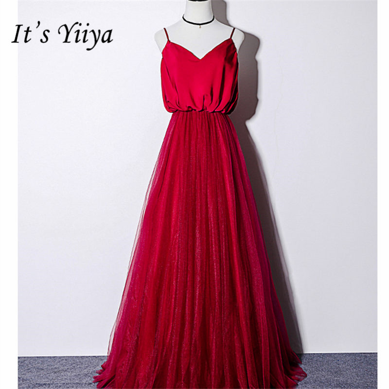 It's Yiiya Evening Dress V-Neck Sleveless Plus Size Simple Women Party Dresses Spaghetti Strap Floor-Length Robe De Soiree E846