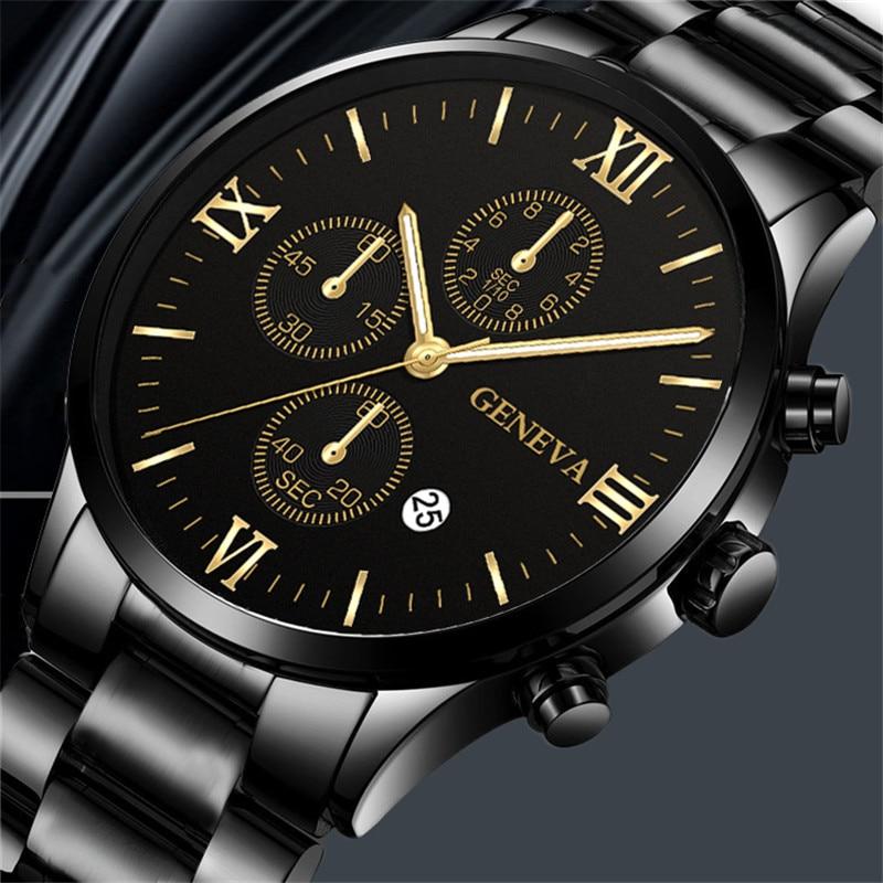 Men Watches Fashion Casual Business Watch Luxury Stainless Steel Black Date Clock Leather Strap Quartz Clock Montre Uhren Herren
