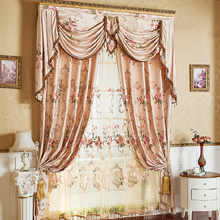 Diane European Garden Pink Curtains for Living Room Windows Luxury Wedding Drapes Embroidered Bedroom Valance
