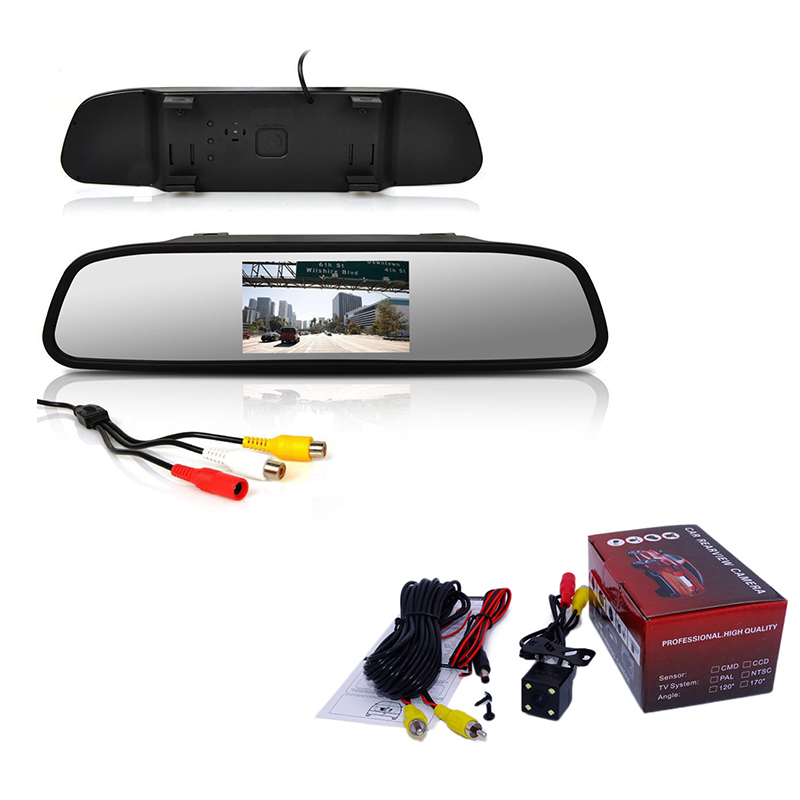 Viecar monitor de espelho retrovisor do carro hd vídeo monitor de estacionamento automático tft lcd tela 4.3 polegada exibição espelho monitor