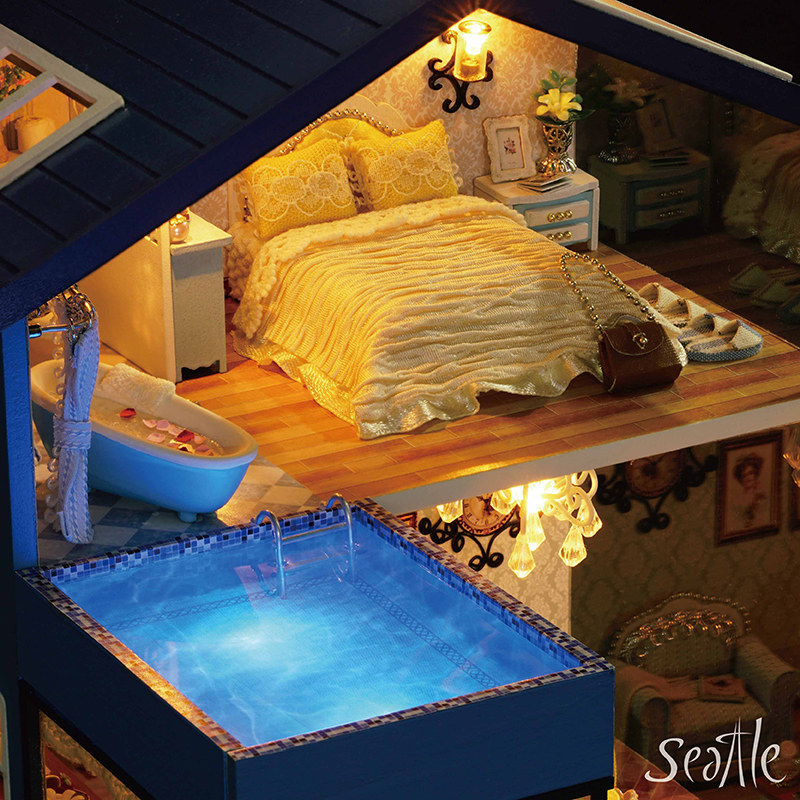 DIY Assembled Cabin For Making House Seattle Model Villa Toy Wood Have Girl'S