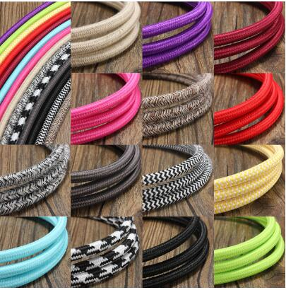 200cm 2 Cord Color Vintage Twist Braided Fabric Light Cable Cloth Electric Wire Chandelier Pendant Lamp Wires