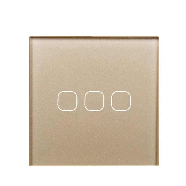 Esooli EU Stanard Touch Switch Crystal Glass Panel 3 Gang 1 Way Touch Switch, EU Light Wall Touch Screen Switch,AC 170-250V