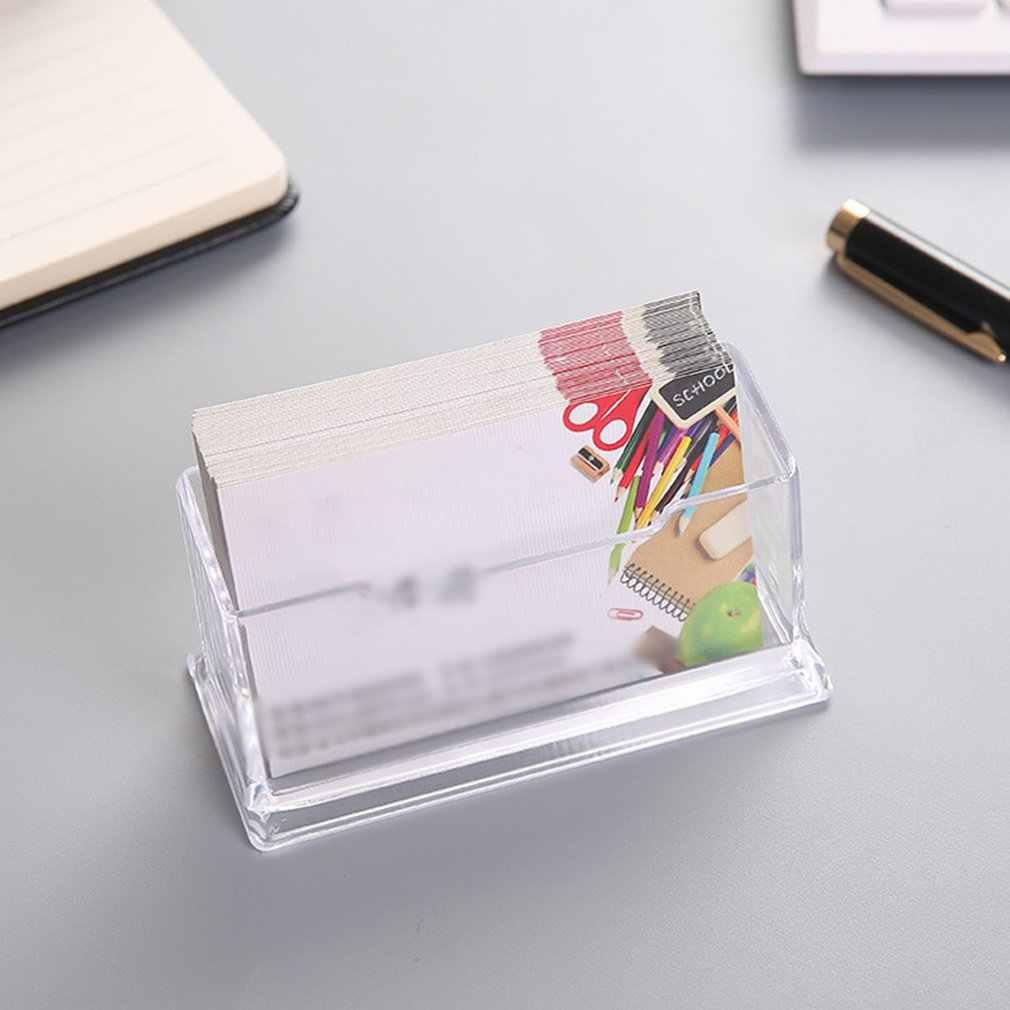 Soporte de tarjeta de visita transparente para tarjetas de visita de pl/ástico acr/ílico organizador de tarjetas para escritorio y oficina colecci/ón marr/ón