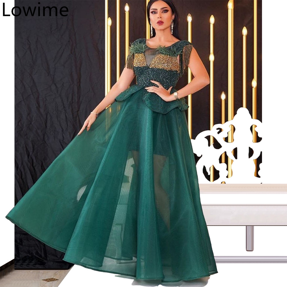 Dark Green Middle East Long   Prom     Dress   2019 Special Design Dubai Glitter Formal Evening   Dress   Illusion Celebrity Party Gowns