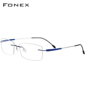 Image 3 - FONEX TR90 Titanium Alloy Rimless Glasses Men Women Frameless Prescription Optical Screwless Eyewear Eyeglasses Frame 7020