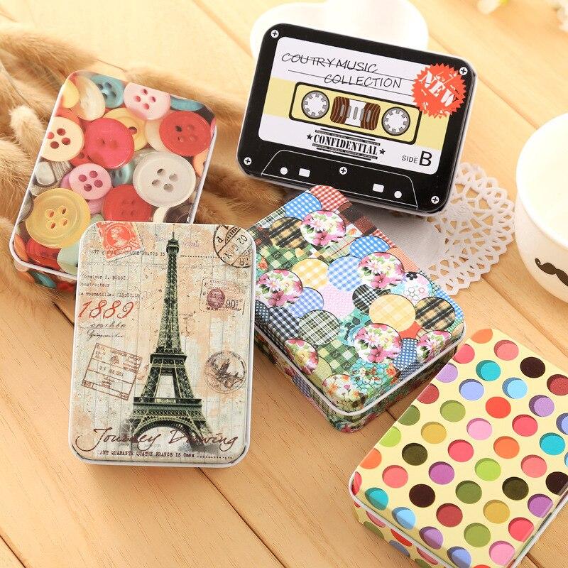 Creative small storage box Cute storage tin household products Makeup storage box earphone change