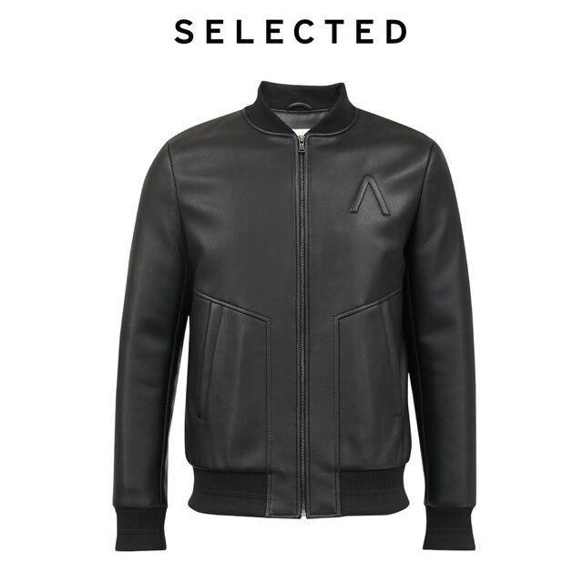 Chaqueta de piel sintética seleccionada para hombre, chaqueta acolchada con cuello de béisbol para otoño e invierno, prendas de vestir L   4194P3510
