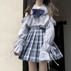 NiceMix-Conjunto de 2 piezas de blusa y falda a cuadros harajuku, chándal de verano para mujer, ropa preppy, conjunto de dos piezas sueltas
