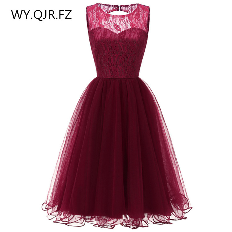 CD-074#Short Bridesmaid Dresses Burgundy Pink Dark Blue O-neck Wedding Party Prom Dress Girls Cheap Wholesale Ball Gown Lace